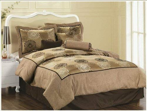 OctoRose Queen Size 7 Pieces Linen and Jacquard Comforter Set