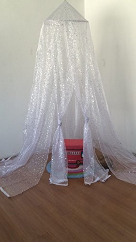 OctoRose Deluxe Organza Sparkle Tastic Princess Bed Canopy ( 60x250x1000cm ) Fit Crib, Twin, Full, Queen, King Bed