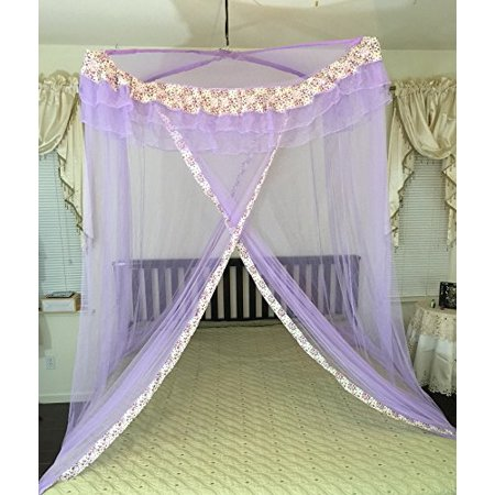 OctoRose Poles Cross Top Hanging Bed Canopy Play Tent Functional Mosquito Insect Netting fit Twin, Full, Queen, King and Cal King Bed