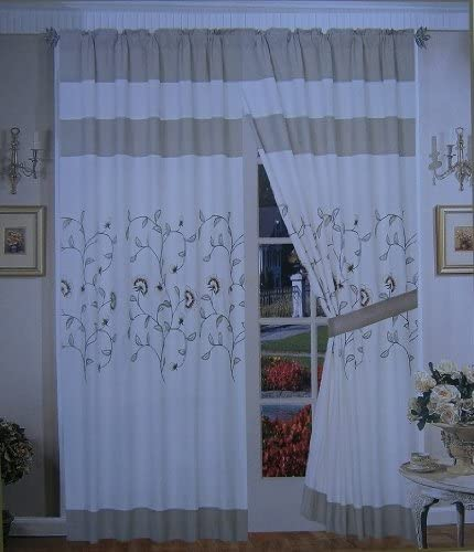 OctoRoseA Pair of Brushed Microfiber with Embroidery Window Curtains/Drapes / Panels with Sheer Lining Valance and Tieback Set 120x84 (Wxh)