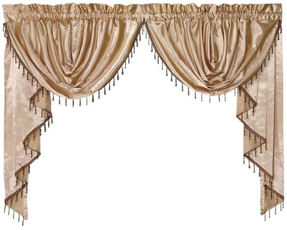 OctoRose  Royalty Custom Waterfall Window Valance and Swags & Tails  132x47