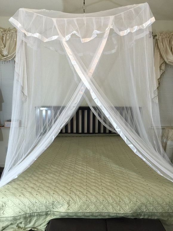 Octorose  ® Poles Cross Top Bed Canopy Functional Mosquito Insect Netting Queen, King and Cal King Bed