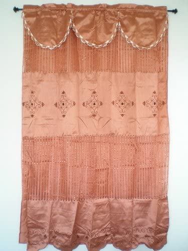 OctoRose A Pair of Bamboo Nod and Organza Sheer Embroidery Window Curtain / Panel / Drape with Valance and Sheer Lining 55x84 inch