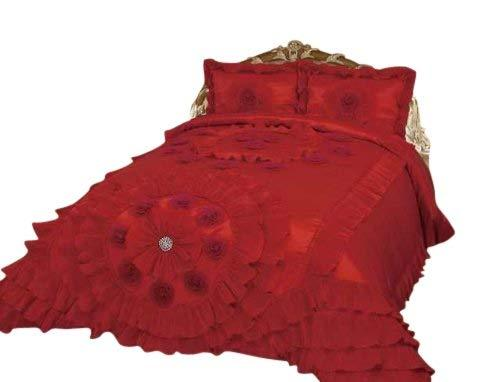 Octorose Royalty Oversize Wedding Bedding Bedspread Quilts Set (Red, Queen(102x110 WxL))