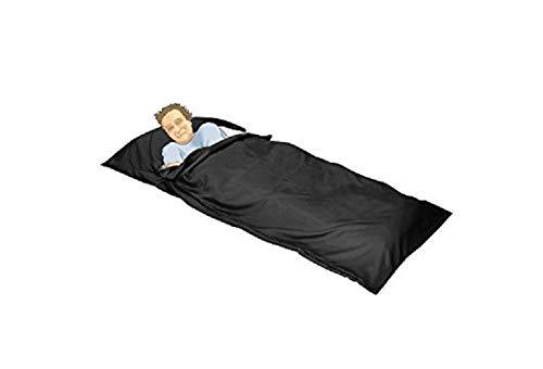 OctoRose Royalty Large Size Silky Satin Cocoon Sack Travel and Camping Sheet Sleeping Bag Liner (SLG-95x42, Black)