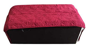 OctoRose Quilted Micro Suede Patio Chaise Lounge Chair Pads Piano Bench Ottoman Covers (Wine, 20x40)