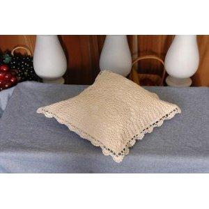 "4 Pcs Set Crochet Cushion Case 14x14"" / Beige Color"