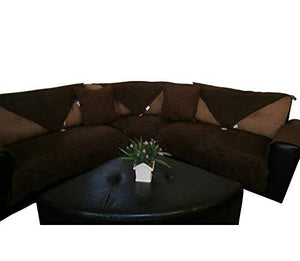 "Bonded Micro Suede Quilted Sectional Sofa Arm Covers Protector (Brown, 2pcs-24x24"")"