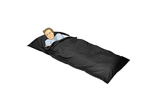 OctoRose Durable Large Size Silky Satin Cocoon Sack Sleep Bag Sheet for Travel Hotel Sleep Over Camping Sleep Bag Inner Protector and Flat Sheet Alternative 95 in x 42 in (Black)