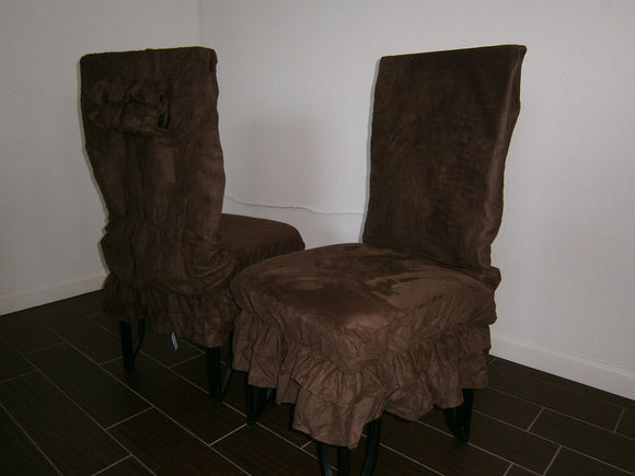 Classic Micro Suede  Shortly Style Chair Cover, Dining Chair Protector