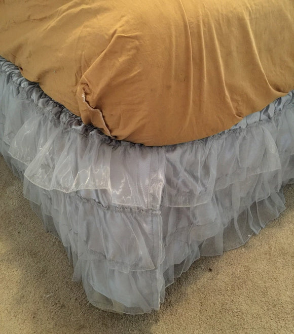 3 Layered Ruffled Organza face with Quality satin underneath Bed skirt dust ruffle , Available at Twin, Full, Queen King bed skirt