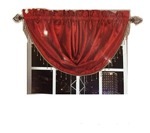 OctoRose Royalty Custom Waterfall Window Valance Swags & Tails (Red, Pair of Swags & Tails(132x47 wxh))