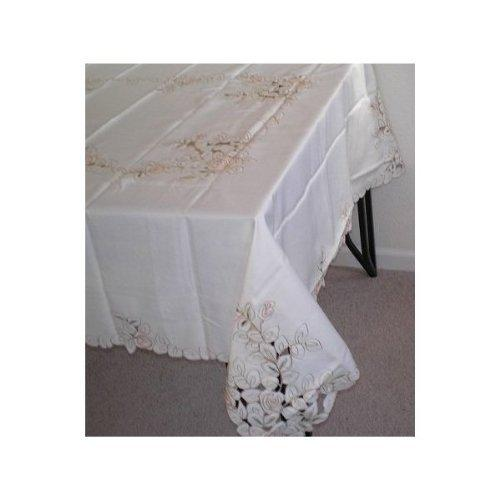 OctoRose 100% Polyester Thick Satin Off White with Embroidery Table Cloth 72x90 Oblong (TC-213-7290-Peh)