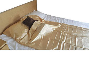 OctoRose Durable Large Size Silky Satin Cocoon Sack Sleep Bag Sheet for Travel Hotel Sleep Over Camping Sleep Bag Inner Protector and Flat Sheet Alternative 95 in x 42 in (Gold)