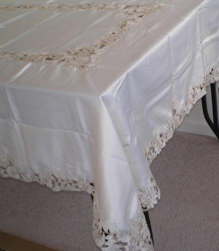 OctoRose 100% Polyester Thick Satin Off White with Embroidery Table Cloth 72x90 Oblong (TC-249-7290)