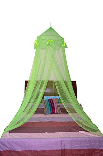 OctoRose Ribbon Bed Canopy Mosquito Net Bed, Dressing Room, Out Door Events (Lime Green)