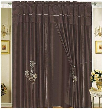 OctoRose Pair of Brown Embroidery Design Window Curtain/Drapes/Panels with Sheer Linen Valance and Tieback