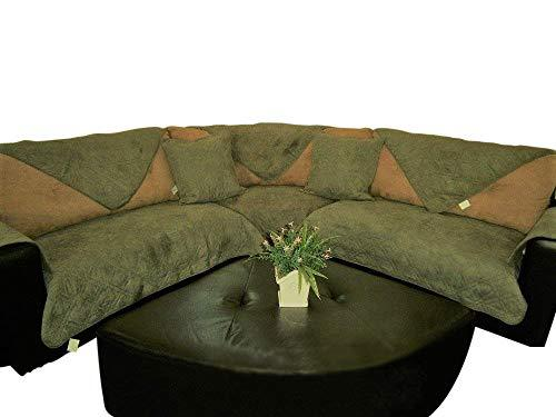 OctoRose Quilted Micro Suede Sage Green Sectional Sofa Cover Pad Sold by Piece Rather Than Set (SageGreen 35x35)
