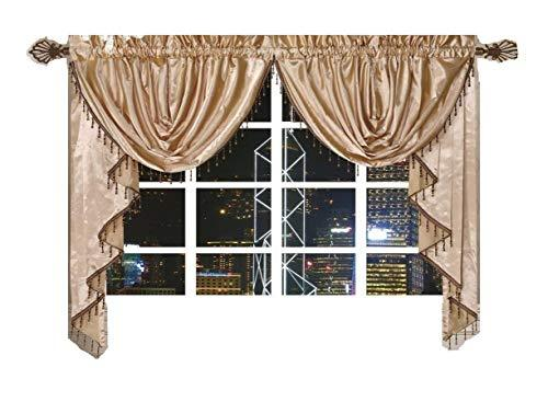 OctoRose Royalty Custom Waterfall Window Valance Swags & Tails (Gold, Pair of Swags & Tails(132x47 wxh))