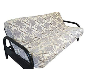 "OctoRose Two Tone Flip Over 3 Side Zipper Futon Cover/Futon slipcover/Futon Protector (Chenille-Grey, Full(54x75+8""))"