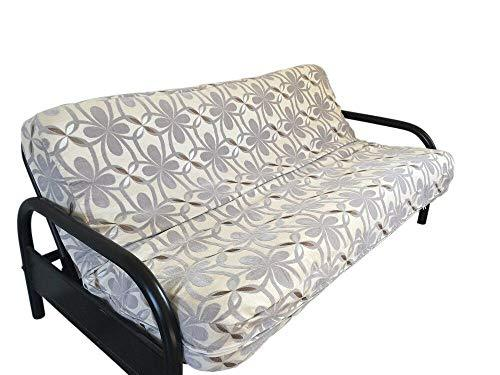 OctoRose Two Tone Flip Over 3 Side Zipper Futon Cover/Futon slipcover/Futon Protector (Chenille-Grey, Full(54x75+8