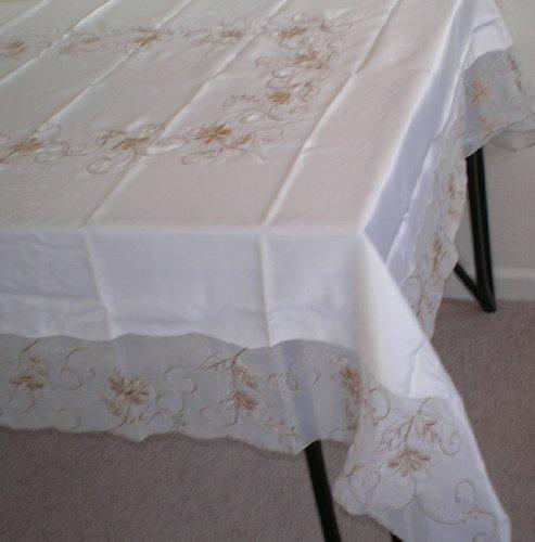 OctoRose 100% Polyester Thick Satin Off White with Embroidery Table Cloth 72x90 Oblong (TC-254-7290)