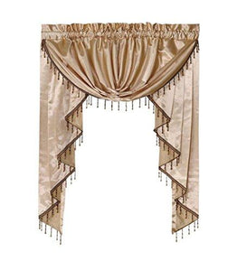 "Octorose Royalty Custom Waterfall Window Valance Swags & Tails for Your Window Width Less Than 45"" inch (Gold, Small Window Valance(66x47 WxH))"
