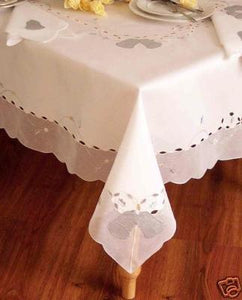 Special Christmas White with Silver Bell Table Cloth/Table Cover 60x84""