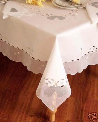 Special Christmas White with Silver Bell Table Cloth/Table Cover 60x84