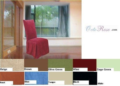 Set of 8 Micro Suede Dining Wedding Chair Covers - Color Oliva Green