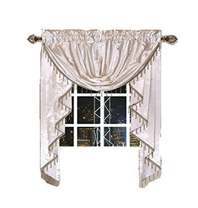 "OctoRose Royalty Custom Waterfall Window Valance Swags & Tails for Your Window Width Less Than 45"" inch (Cream, Small Window Valance(66x47 WxH))"