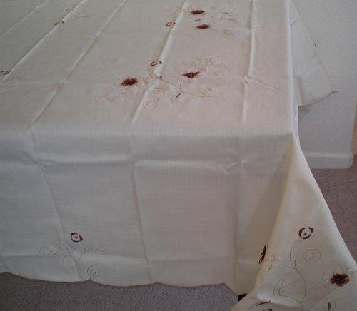 OctoRose 100% Polyester Thick Satin Off White with Embroidery Table Cloth 72x90 Oblong (TC-2050-7290)