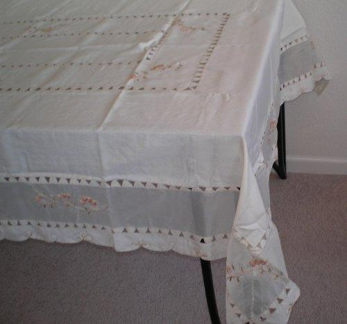 OctoRose 100% Polyester Thick Satin Off White with Embroidery Table Cloth 72x90 Oblong (TC-297-7290)