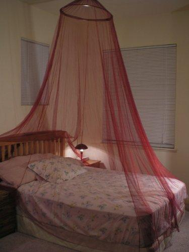 OctoRose Burgundy Hoop Bed Canopy Mosquito Net Fit Crib, Twin, Full, Queen, King