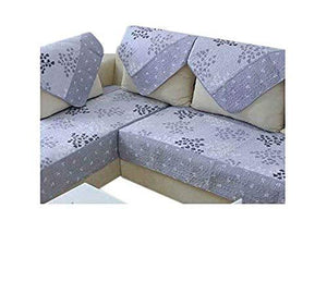 Ofit Soft Brush Microfiber Quilted Sectional Sofa Throw Pads Furniture Protector Sold by Piece Rather Than Set (Grey-Leave, 35x94)
