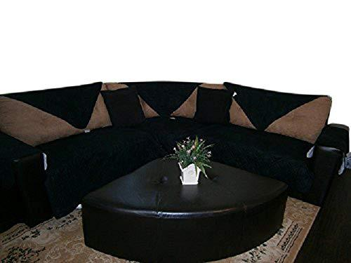 OctoRose  Quilted Micro Suede Sectional Sofa Throw Pad Furniture Protector in Different Size (Black, 35x82)