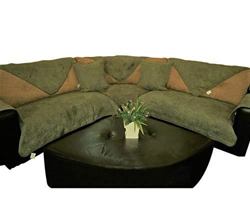 OctoRose Quilted Micro Suede Sage Green Sectional Sofa Cover Pad Sold by Piece Rather Than Set (SageGreen 35x82)