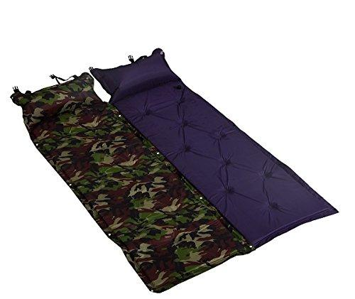 Self Inflatable Mat Beach Folding Camping Mat Air Sleeping Bed with Pillow (army)