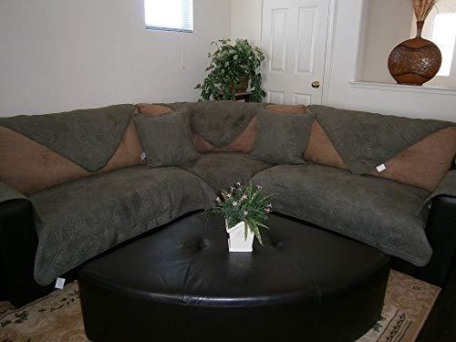 Bonded Micro Suede Quilted Sectional Sofa Throw Pad Furniture Protector Sold By Piece Rather Than Set (Olive Green, 35x62