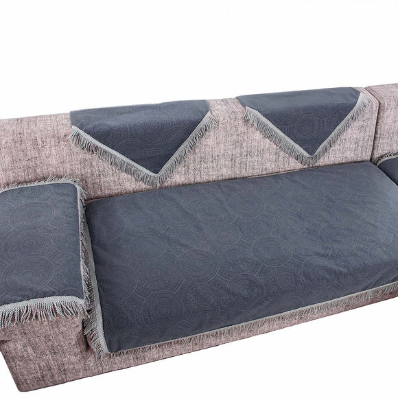OctoRose Flocking or Faxu-Linen Material Non-Slip Sofa and Couch Protector, Sectional Sofa Cover, Sofa Arm Covers, Removable and Adjustable Strap Under The Sofa Cushion