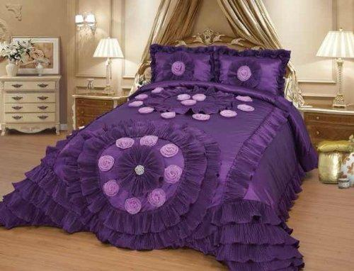 Octorose Royalty Oversize Wedding Bedding Bedspread Quilts Set (Purple, Queen(102x110 WxL))