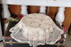 "Croche Table Linen 100% Cotton Hand Made 72x126""/ White Color"