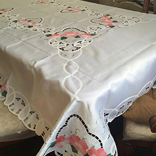 Battenburg Lace with Embroidery Table Clothes/Covers, Table Runner, Placemats or Kitchen Curtains (White, 72x126
