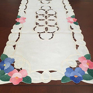 "Battenburg Lace with Embroidery Table Clothes/Covers, Table Runner, Placemats or Kitchen Curtains (Beige, 15x54"")"