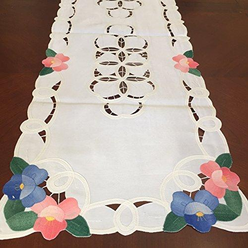 Battenburg Lace with Embroidery Table Clothes/Covers, Table Runner, Placemats or Kitchen Curtains (White, 15x90