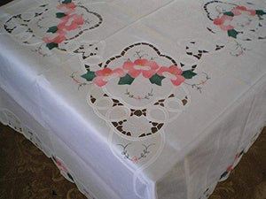 OctoRose 100% Polyester Thick Satin White with Embroidery Table Cloth 72x90 inch Oblong (TC-BaLe-7290-Wht)