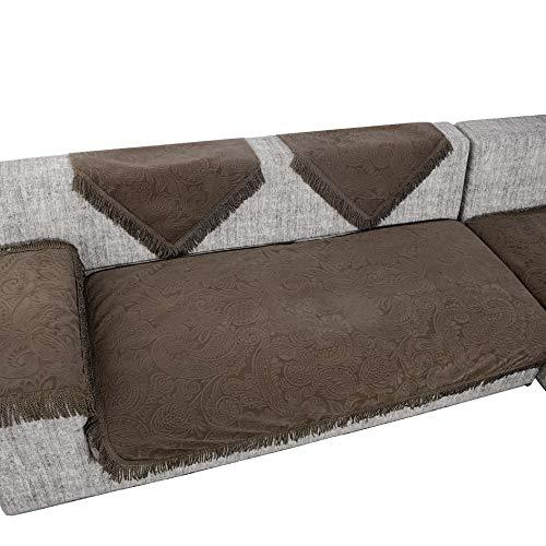OctoRose Flocking Brown New and Improved Anti-Slip Grip Sofa and Couch Protector, Sectional Sofa Cover, Sofa Arm Covers, Removable and Adjustable Strap Under The Sofa Cushion (35x70, FLK-Brown)