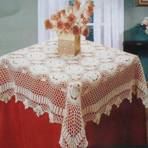 "100% Cotton Handmade Crochet Table Cloth White 68"" Round"