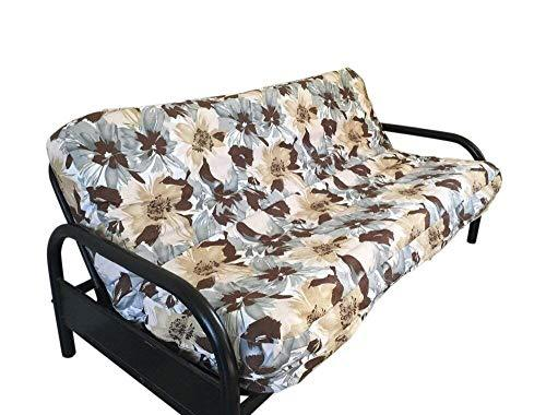 OctoRose Thick Canvas Flower Printing and Bonded Micro Suede Reversible 3 Side Zipper Futon Cover Twin Size 39x75+8