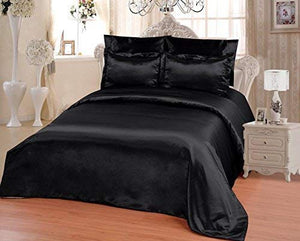 OctoRose 6 PCS KING Size Duvet Cover Set, Supreme Quality Sexy Silky Satin,1 Large Size Double Heads Zipper Duvet Cover,1 Fitted Sheet, 2 Pillow case,2 Pillow Shams